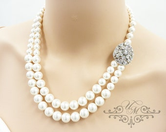 Wedding Necklace Double Strands Swarovski Pearl Necklace Rhinestone Necklace Bridal Necklace Bridal Jewelry Bridesmaids Necklace - MAY