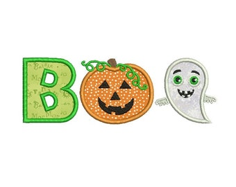 Boo Halloween Applique Machine Embroidery  Design - Digital Embroidery File - Ghost applique - Pumpkin embroidery design - INSTANT DOWNLOAD