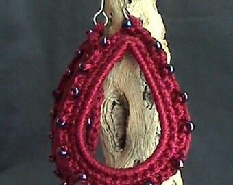 Fuchsia dangle earrings - Boho chic - handmade crochet earrings - girlfriend gift - Lace fashion earrings - bridesmaid dangle earrings