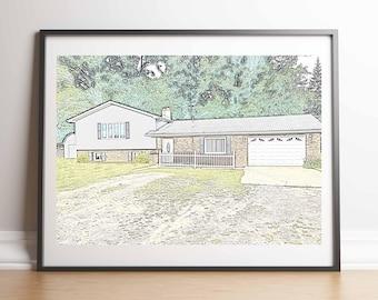 Custom Digital Sketch of Home or Building