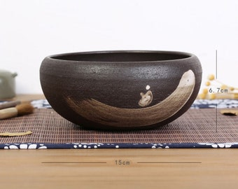 Free Shipping Chinese Calligraphy Hand Made Crude Pottery Brown Color Brush Wash Water Bowl 15x6.7cm 0060 Orientalartmaterial