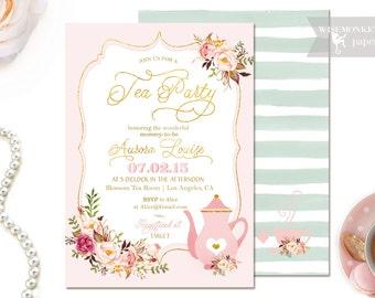 Tea Party Baby Shower Invitation - Tea Party - Gold foil  - Boy or Girl - Blue Blush Printable - DIY