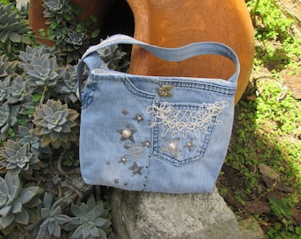 Denim Shoulder Bag, Recycled Denim Handbag, Jean Handbag, Hand Bag, Gift for her, Gift for Daughter, Boho Style, Girl Accessory, Denim Bag