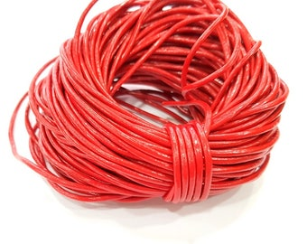 Leather Red Cord 1mt-3.3 ft (2mm) Round Leather Lacing G7970