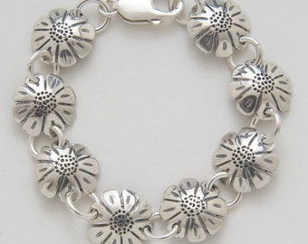 Daisies Bracelet made from Vintage Silver American Dimes