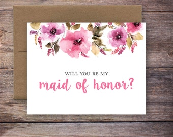 Printable Will You Be My Maid of Honor Card - Instant Download Greeting Card - Will You Be My Bridesmaid - Wedding Card – Brittney