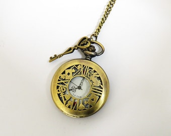 Alice in Wonderland Pocket Watch Necklace, Vintage Pocket watch, Bronze pocket watch, Alice in Wonderland Jewellery, Gift for her