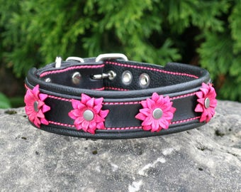 Leather Dog Collar - Handcrafted Flower Leather Dog Collar-  100%  Real Leather -Many Options Available-Quality Dog Collars