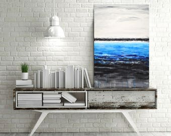 Original abstract painting large contemporary raw art blue white modern oil painting blue painting wall art artwork by L.Beiboer