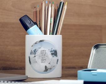 Let's Get Lost Himalayas Mountains Wanderlust Motivational Inspirational Pencil Holder, Pen Pot, Pen Holder, Gift Idea, Children Gift, PP087