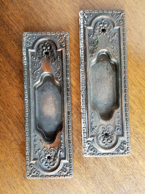 Set of Pocket Door Handles, Antique Recessed Handles, Vintage Pocket Door  Hardware, Copper Escutcheons, Brass Pocket Door, Pocket Door Pull - Set Of Pocket Door Handles, Antique Recessed Handles, Vintage Pocket