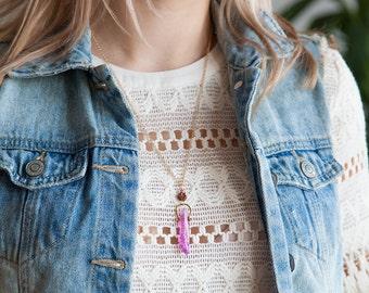 Purple Angel Aura Necklace, Angel Aura Pendant, Bronze Crystal Necklace, Floral Crystal Necklace, Purple Flower Crystal, Bohème Chic Bijoux