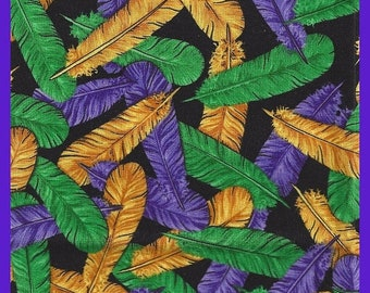 ON SALE Feathers Galore Fat Quarters Purple Gold Green on Black Remnant Cotton Fabric