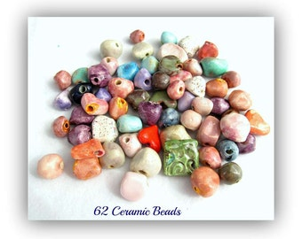 clay beads,handmade beads,artisan beads,organic beads, 62 loose beads,   # 135