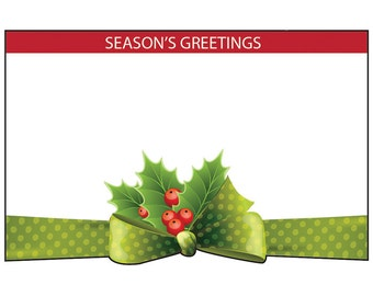 """50ct. Green Bow Tie """"Season's Greetings"""" Christmas Print Florist Blank Enclosure Cards Small Tags Crafts (Free Shipping!)"""