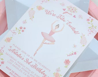 "Ballerina Party Invitation, Digital Printable PDF 5"" x 7"", Pink Flowers Prima Ballerina, Ballet, On Pointe, Girls, Toddler Party, Tutu"