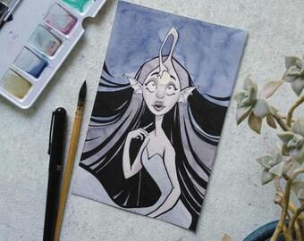 "ORIGINAL ""angler mermaid"" 8x5 inch watercolor illustration"