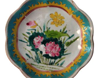 1940s Japanese Ceramic Floral Footed Bowl
