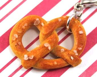 soft pretzel charm kawaii polymer clay charms miniature food jewelry polymer clay food charm auntie anne's hot pretzel pretzel necklace