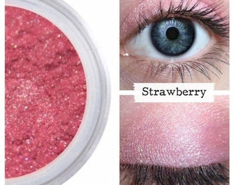 Pink Eyeshadow, STRAWBERRY, Mineral Eye Color, Pink Shadow, Pink Shimmer Eye, Pink Vegan, Cruelty Free, Pink Make Up, Pink Makeup, Natural