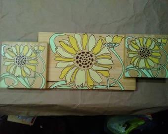 3 Sunflowers on Poplar