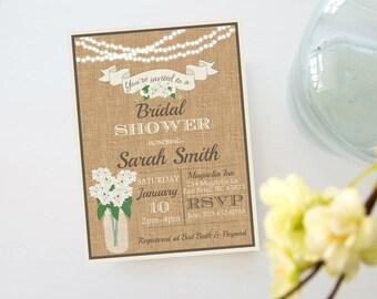 Rustic Burlap Hydrangea Mason Jar String Lights Bridal Shower Invite, Invitation with Flowers,  Printable Digital Invite, Rustic Wedding