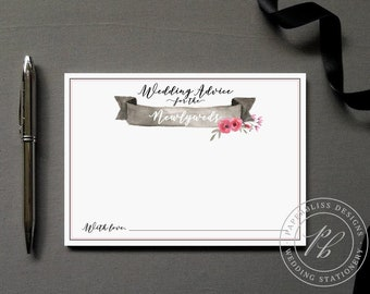 Wedding advice card PDF download, Bride and Groom wedding words of wisdom, pink and black wedding comment card, guest book alternative