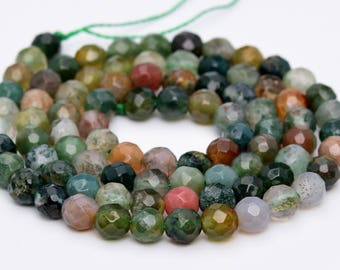 """4MM Faceted Indian Agate Natural Gemstone Full Strand Round Loose Beads 15"""" (100757-323)"""