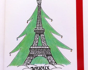 Paris France Eiffel Tower Christmas Tree