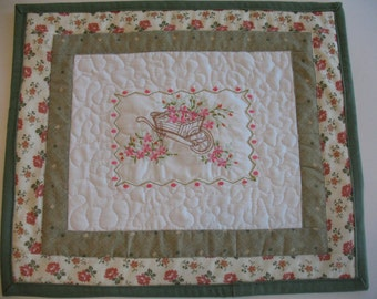 Quilted and Embroidered Wall Hanging Flower Cart