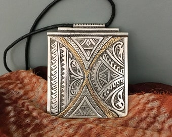 Tuareg Pendant Silvermix/Copper with Leather Cord, Morrocan Sahara
