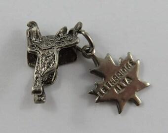 Horse Saddle With Lethbridge Alta. Tag Sterling Silver Vintage Charm For Bracelet