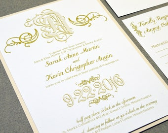 Calligraphy Wedding Invitation Suite, Monogram Wedding Pocket with Bellyband, Cream and Gold Wedding Invite, Swirl Wedding Invitations