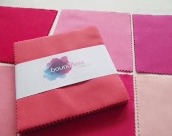Boundless Solids Tickled Pink 42 Precut Fabric Squares - 5 inch