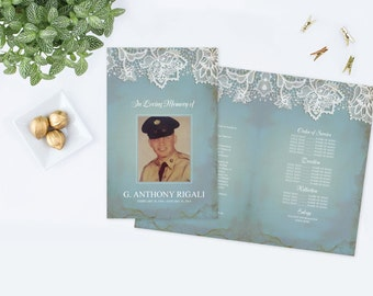 DIY Printable Customizable Funeral Program ~ Winter, Vintage Lace, Pale Blue, Country Barn Theme, Memorial Service Program, Final Tribute