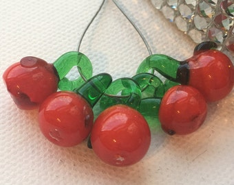 Lampwork Red Apple Cherry Tomato Fruit Beads (set of 5)