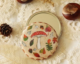 Illustrated Pocket Mirror - Autumn Mushroom