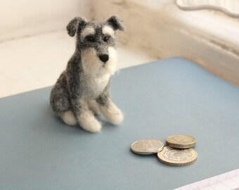 Needle Felted Schnauzer Dog, Miniature Felted Dog Wool Sculpture, Schnauzer Gifts, Schnauzer Art