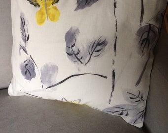 Hand Painted Throw Pillows, A Yellow Butterfly Or Pink Magnolia Flowers