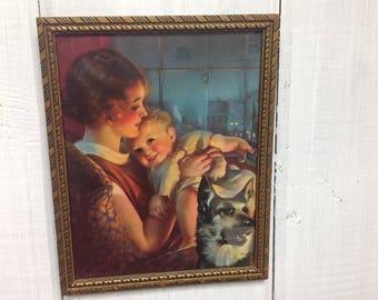 Antique Mother and Child original print