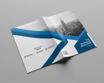 Business Brochure Template | Bifold Business Brochure | Photoshop Template | Instant Download