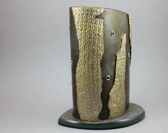 Handcrafted Vessel - Eyeglass Pen Holder Gold Silver Riveted Home Decor No. 129