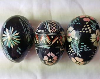 Vintage Scandinavian Hand Painted Wooden Easter Eggs 1960's Set of 3 Easter Ornaments