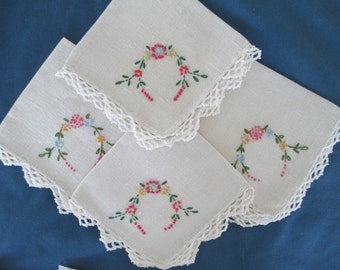 Vintage White Shabby Chic Embroidered Floral Napkins Set Of Four (4) Dining French Country Linens Table Linens