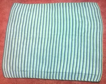 Hand Knit Baby Blanket - Blue and Green