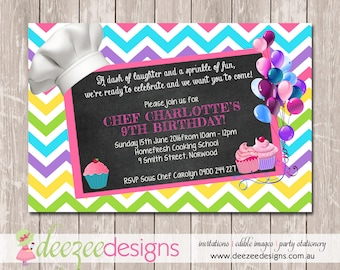 Chef Cooking Masterchef Birthday Invitations - YOU PRINT