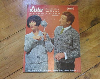 1960s Lister & Co. knitting patterns for lady's suit, and man's cardigan