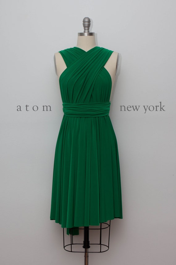 Emerald Green Short Infinity Dress Convertible Formal Multiway