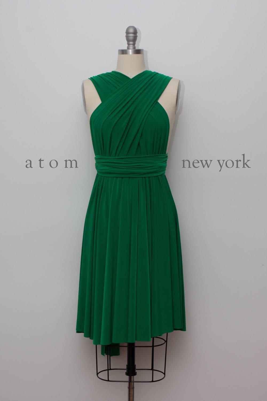 Emerald Green SHORT Infinity Dress Convertible Formal Multiway
