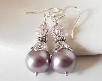 Dusky Purple Bridesmaid Earrings, Swarovski Elements Pearl Dangles in Silver, Mauve Wedding Jewelry, Nickel Free Plated or Sterling Silver